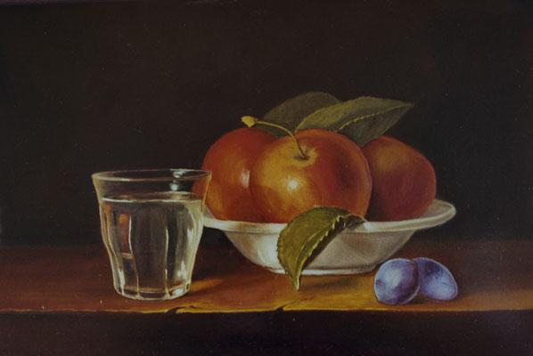 L'assiette de pommes . Huile sur toile de Lin . ( vendu ).