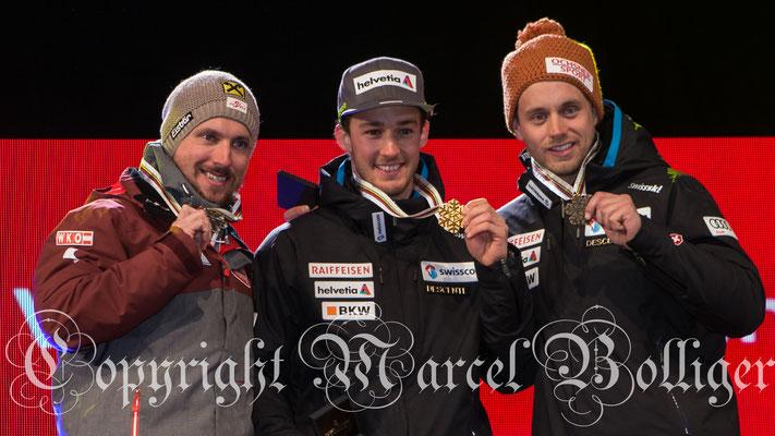 Siegerpodes: Marcel Hirscher/Luca Aerni/Mauro Caviezel