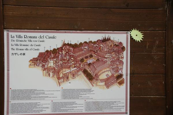 Der Plan der ehemaligen römischen Villa