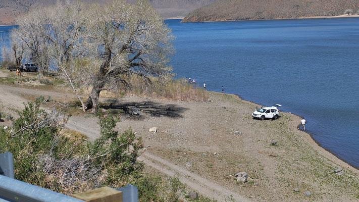 bis zum Lake Topaz, in Nevada, wo die Menschen wieder draussen sind