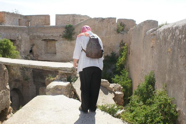 Hier gibt es kein Weiterkommen auf der Mauer in Azemmour