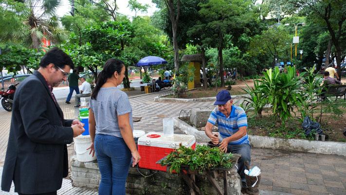 Terere wird in Paraguay immer frisch und nach Wunsch gemischt, gemahlen und mit kaltem Wasser und Eis angerührt.