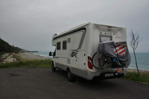 Unser letzter Uebernachtungsplatz am jonischen Meer