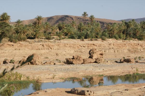Das Wasser des Oued für einmal ganz ruhig