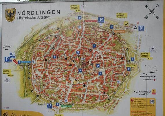 Der Altstadtplan von  Nördlingen