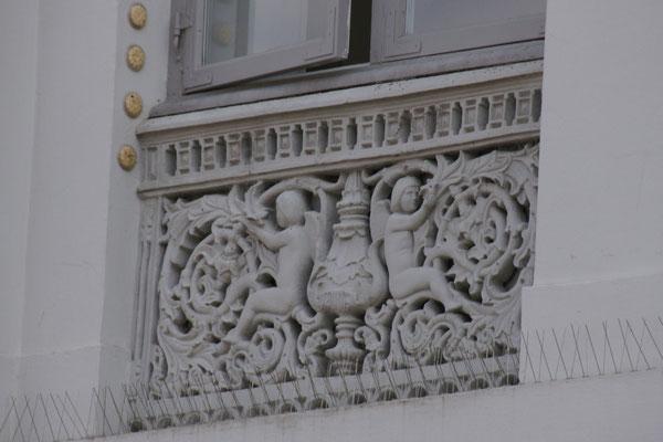 Schöne Ornamente an den Häusern