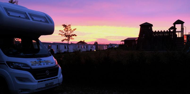 Abendstimmung auf dem Campingplatz in Orsingen