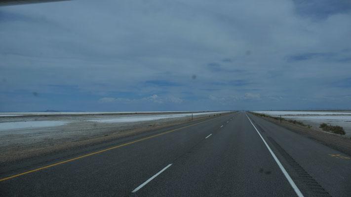 Es tut weh in den Augen. 60 km nur Salzkrusteb links und rechts des Highways