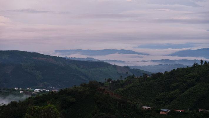Am Morgen Blick in die Kaffeeregion und