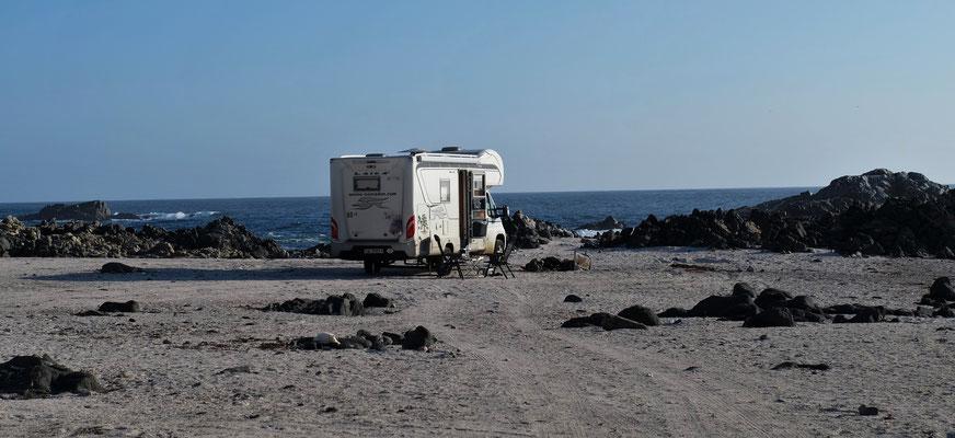 Unser Uebernachtungsplatz an der Küste