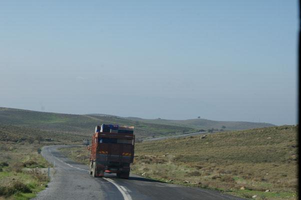 Die baumlosen Hügel hinter der Küste. Orangentransporte ganz ohne Befestigung. Aber es fällt nichts für uns runter.