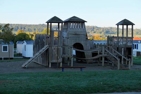 Der Spielplatz auf dem Camping in Orsingen ist verwaist