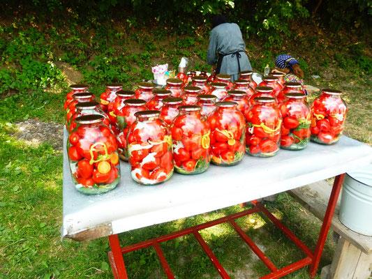 Die Nonnen konservieren die Tomaten mit Salz