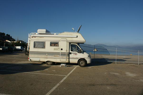 Unser Uebernachtungsplatz am Hafen von Nafplio