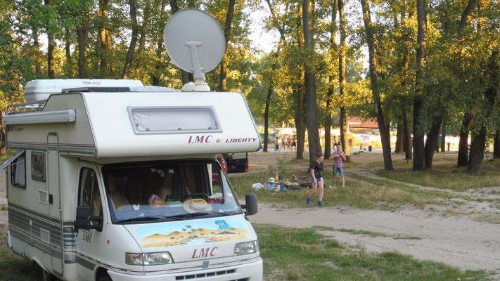 Unser Plätzchen im Hydropark auf der Dnjeperinsel in Kiew