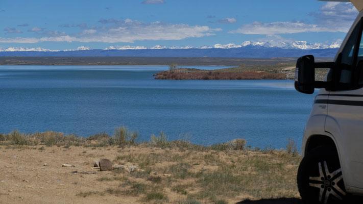 Wir stehen einmal mehr einfach nur schön am Lake Sandy