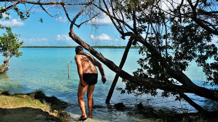 Herrlich Süsswasser an der Lagune Bacalar.....