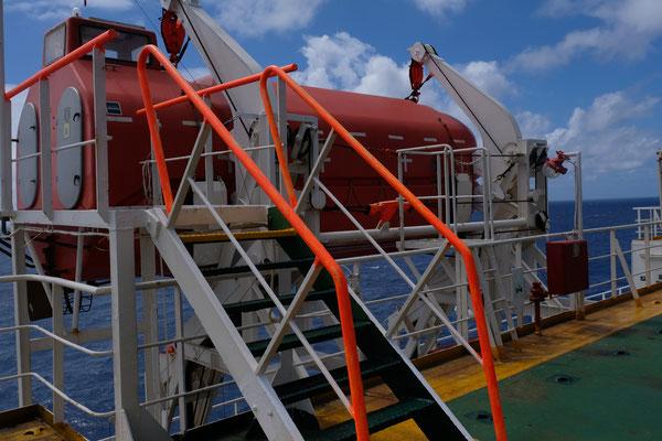 Das Rettungsboot dürfen wir austesten und..