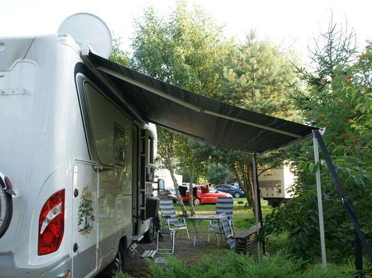 Unser Plätzchen auf dem Campingplatz in Rowy