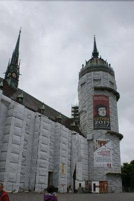 Die Schlosskirche in Wittenberg wird innen und aussen restauriert.
