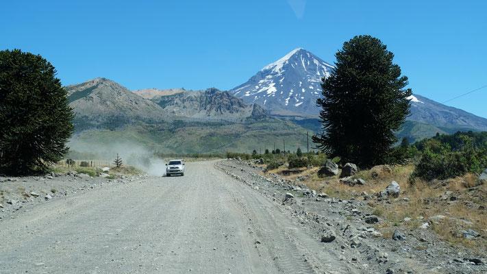 Im Hintergrund der Vulkan Lanin