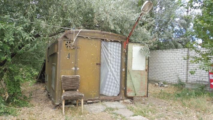 Mobilheim auf dem Campingplatz in Zatoka, Ukraine