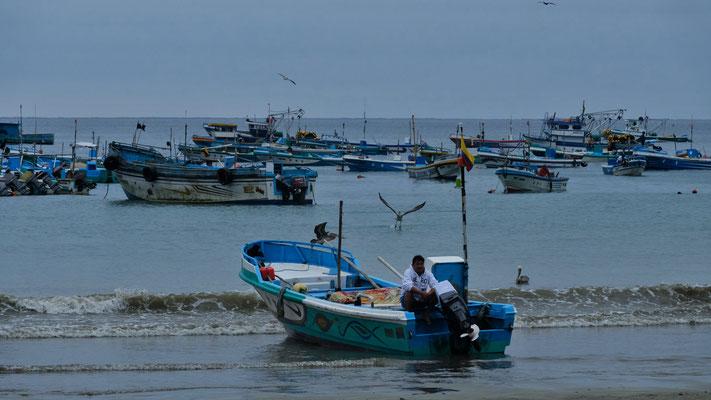 Nebst den Touristenbooten gibt es noch viele Fischerboote, die.......