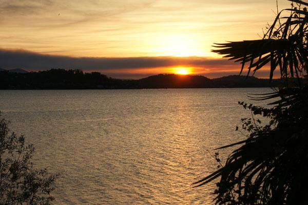 Sonnenaufgang am Lago Maggiore. Blick aus dem Womo