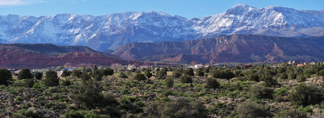 Es grünt auch wenn die Berge noch sehr verschneit sind