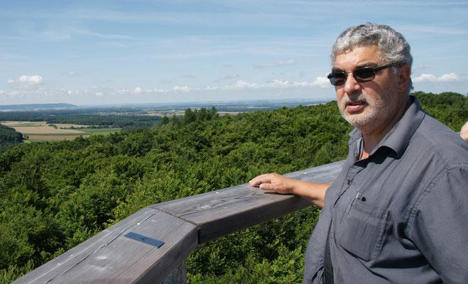 ...und Wahnsinnsaussicht in 40m Höhe auf dem Baumwipfelturm im Steigerwald