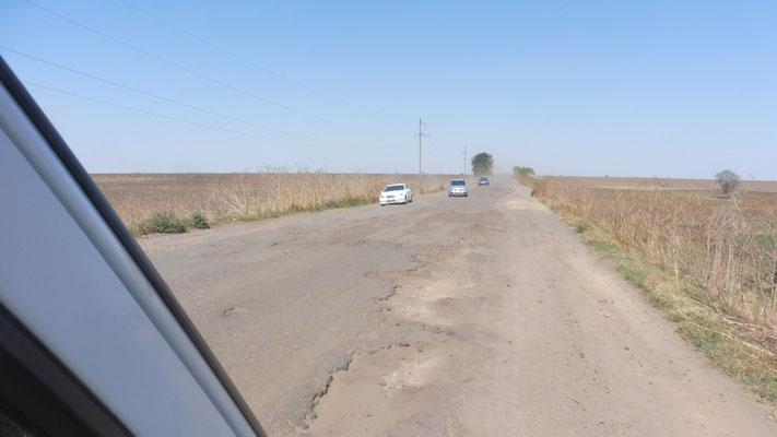Alle Autos tanzen Walzer. Jeder sucht sich eine Spur. Viel Gegenverkehr ins ukrainische Donaudelta. Ist ja schliesslich auch Sonntag