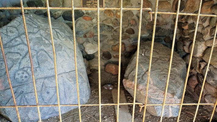 .... mit den in Stein gehauenen Petroglyphen des Donnervogels