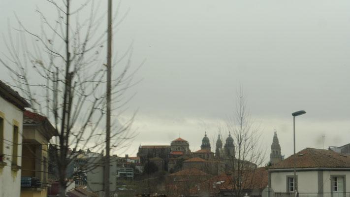 Die Kathedrale von Santiago sehe ich aus der Ferne