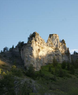 Blick von unserem Stellplatz auf die Felsen