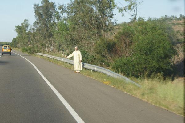 Autostopp auf der Autobahn