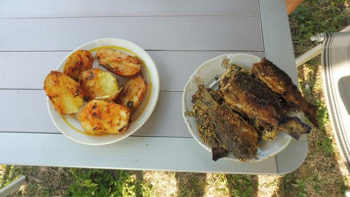 Wir bekommen ein feines Mahl. Frisch aus dem See