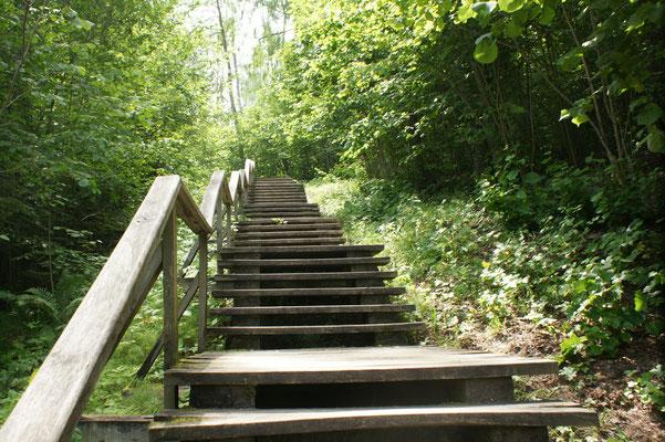300 Treppenstufen zum Schloss Wolkenberg 248 m hoch.