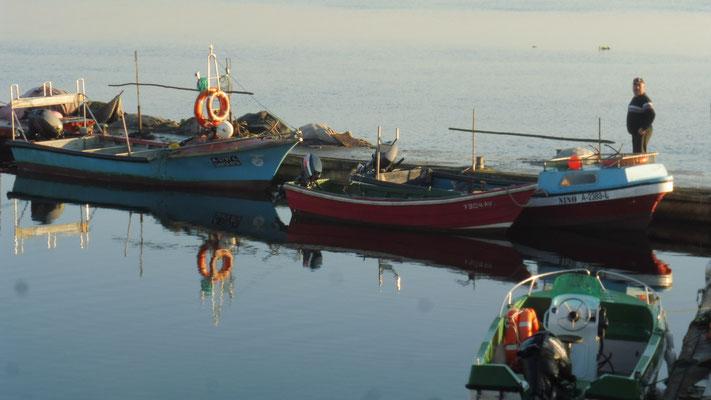 Morgenstimmung in Costa nova. Das Wasser ganz ruhig