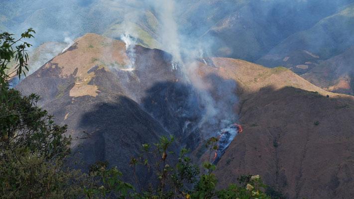 Ein wohl ausser Kontrolle geratenes Feuer arbeitet sich in Windeseile den Berg hoch. Es knistert bis auf unsere Seite und der Rauch beisst in den Augen.