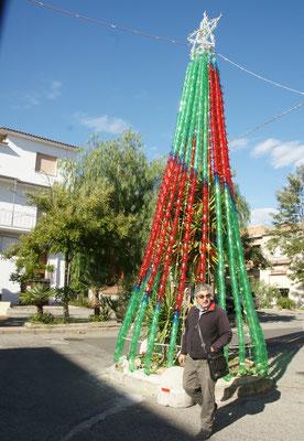 Kreativer Christbaum über Kaktus aus Petflaschen in Bovalino