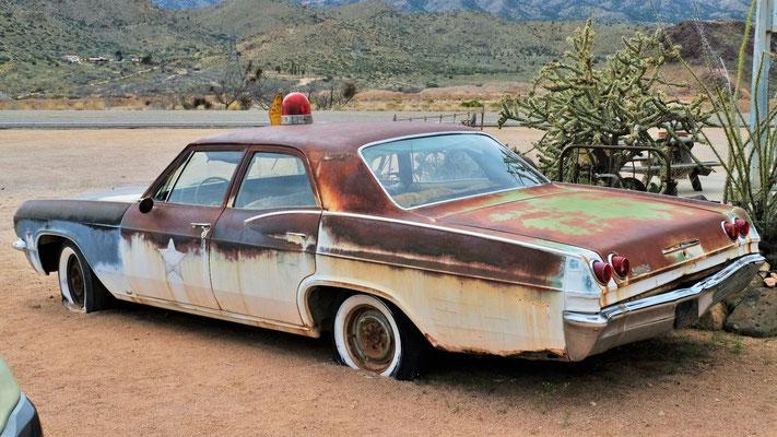Polizei Auto auf der Route 66, aber nicht mehr einsatzfähig