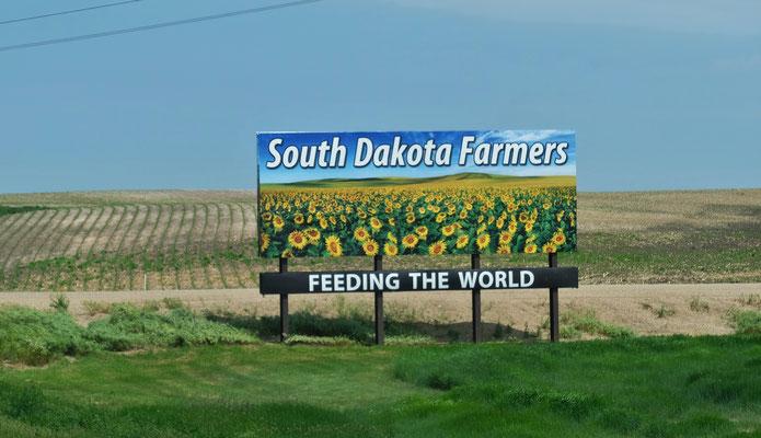 Sehr viel Landwirtschaft in South Dakota
