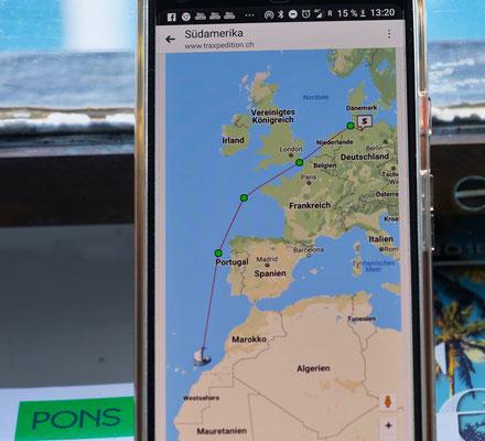 Unsere bisherige Route auf dem Meer.