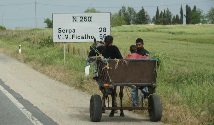 Romas, erinnern uns an Rumänien auf dem Weg nach Serpa.