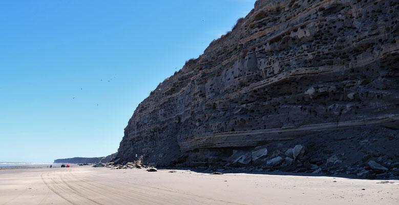 Kilometer langer Sandsteinfelsen, wo die Felsensittiche nisten