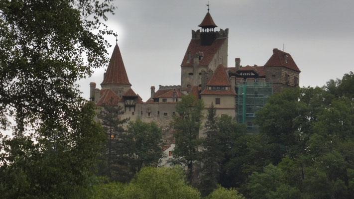 Hinter Bran. Blick von unserem Uebernachtungsplatz auf die Burg