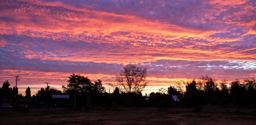 Abendstimmung auf unserem Uebernachtungsplatz in Panimavida