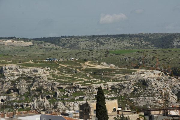 Blick vom Castello rüber zu unserem heutigen Ubernachtungsplatz