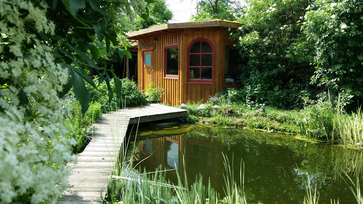 Swimming pond with massage/meditation hut