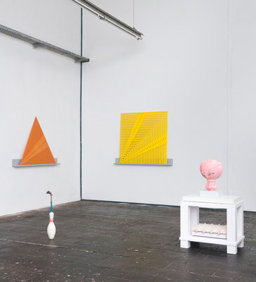 "The Limits of Control:Templates, installation view ""Das MAHO Programm"", Lady Fitness, Berlin, 2014, sculptures by Michael Rockel and Johannes Weiss"